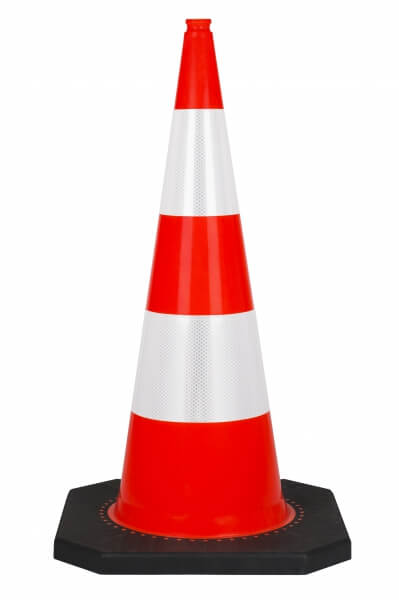 bollard 100 cm with black PVC basis reflective traffic cones height 100 cm