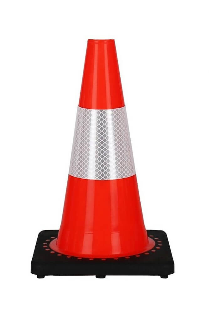 Cone 30 cm PVC with a black base ... ... reflective traffic cones height 30 cm