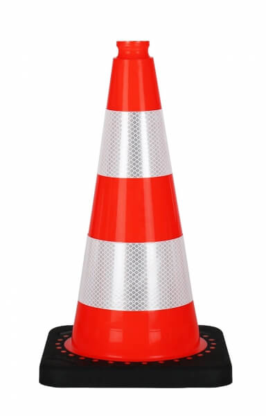 Cone 50 cm with a black pvc cones reflective road base height 50 cm