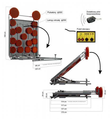 zwymiarowane produkty PANEL i pulsatory 464x500 Panel na samochód z układem pionującym pulsatorów, ZKD (\/) SLIM