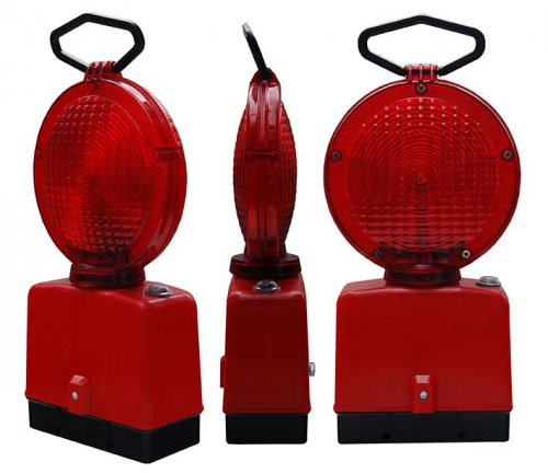 czerwona 2 stronna 500x432 Lampy Ostrzegawcze Diodowe – bateryjne Φ185