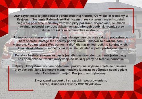 %name Wspieramy OSP Szynkielów